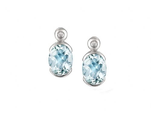 Oval Aquamarine And Diamond White Gold Earrings